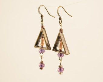 Copper Drop Earrings with Freshwater Pearl & Purple Beads // Gifts for her // Bridesmaids gift