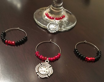 Firefighter wine glass charms- set of 4