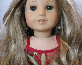 "OOAK 18"" Custom American Girl Doll Jess Sandy Blonde Hair Kanani Hazel Green Eyes"