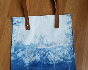 Indigo tote, Indigo bag, hand- dyed with natural indigo bag