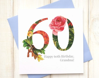 60th Birthday Card - Birthday Card for Her - Floral Birthday Card - Botanical Greetings Card - Grandma Birthday Card - Milestone Birthday