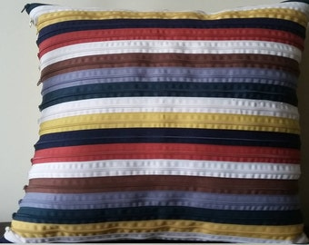 Multicolor striped pillow