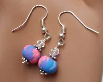 Blue and pink earrings with swarovski crystals