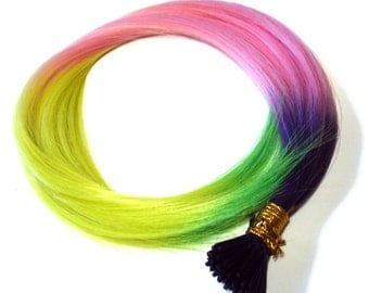 Prebonded I-Tip Extensions/Synthetic Hair Feathers, Pastel Rainbow - BULK DISCOUNT