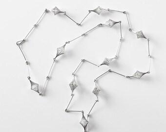 Rhomboid Sterling Silver Linear Chain/Silver DesignerJewelry/Long Linear Necklace with Rhomboid Trucks
