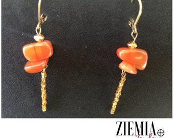 Carnelian Gem Earrings with Glass Beaded Bar
