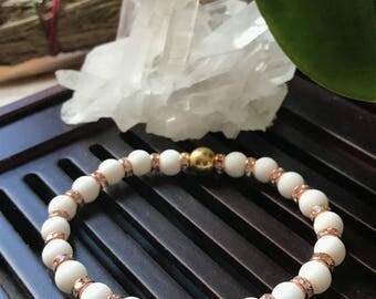 6mm White Matte Alabaster Yoga Mala Beaded Bracelet. Healing Natural Gemstone Bracelet. Protection Mala Bracelet. Wrist Mala.