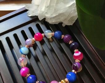 10mm Multicolor Banded Agate Yoga Mala Beaded Bracelet. Healing Natural Gemstone Bracelet. Stretch Bracelet. Good Luck Bracelet.