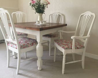 Farmhouse Table And Chairs Shabby Chic Kitchen Dining Table And 4 Chairs Extendable Oak Dining Table Painted Furniture * Made To Order *