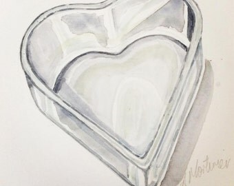 Heart shaped French patisserie tin, original watercolour painting