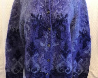 Vintage Mohair Sweater, Purple Cardigan, Size Medium Large, Hand Knit 90's