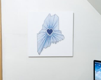 Heart of Maine String Art - White, Blues and Blue