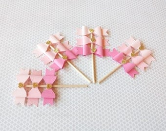 12 Ombre Pink and gold mini bow cupcake and dessert toppers | Pink bows | Pink and gold | first birthday party decorations | baby shower