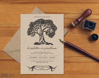 Rustic Wedding Invitation Template, Tree Wedding Invitation,Wedding Invite, Wedding Printable Template,PDF Instant Download | VRD155AB