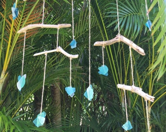 Maui Driftwood & Sea glass kinetic sculpture - mobile
