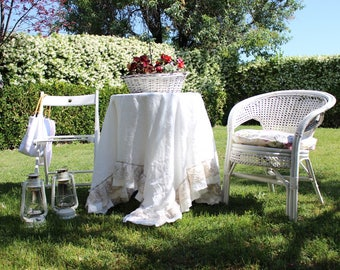 Lace Ruffled Linen Tablecloth-Ivory/White/Flax Tablecloth-Linen Tablecloth-Wedding Tablecloth- Linen Table cloth #Mademoiselle#