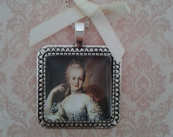 Marie Antoinette Square Pendant on Silver Chain