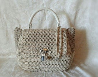 Sandy beige crochet and Stefany bag leather handle