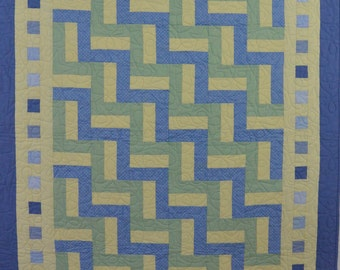 Sweet Baby and Periwinkle Blues, Green and Butter Yellow Quilt