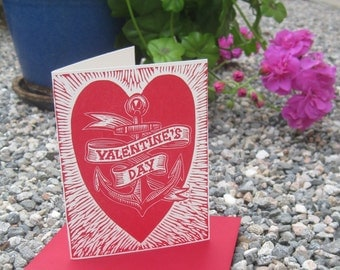 Hand Carved Linoleum Block Letterpress Valentine Card