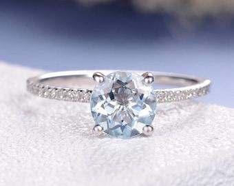 Minimalist Aquamarine Ring White Gold Engagement Ring Round Cut Gemstone Solitaire Ring Diamond Half Eternity March Birthstone Anniversary