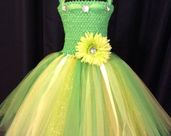 Green & yellow Tinkerbell tutu dress, tutu dress for girls, birthday dress, gift for her, princess dress, dress up, Tinkerbell costume