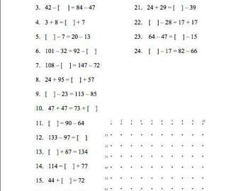Workbook (9 Pages) Two to Four Digit Whole Number Addition and Subtraction (Combinations up to 18)