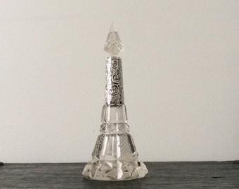 Antique Victorian Scent Bottle / Sterling & Crystal / Perfume Bottle