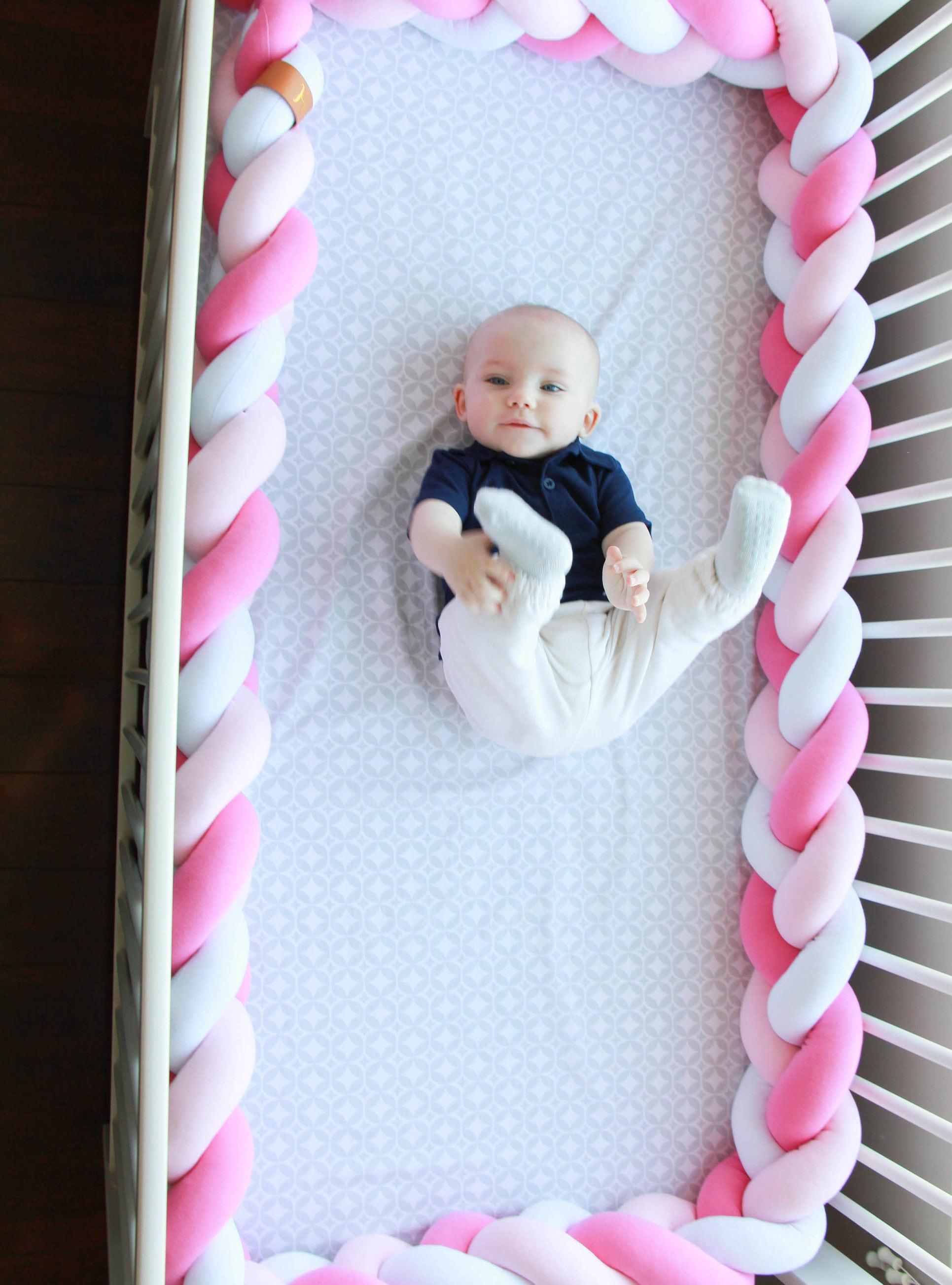 Crib pillows babies - Mixed Colours Braided Crib Bumper Knot Pillow Knot Cushion Bolster Pillow Crib