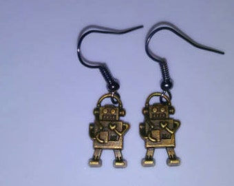1PC Bronze Robot Earrings