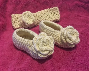 3-6 month rose shoes and matching head band