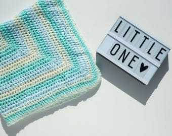handmade crochet baby blanket / mint green yellow blue / baby boy / baby girl / new baby / baby shower gift / crib cot / granny stripe