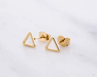 Gold Triangle Earrings / Triangle Studs / Geometric Earrings