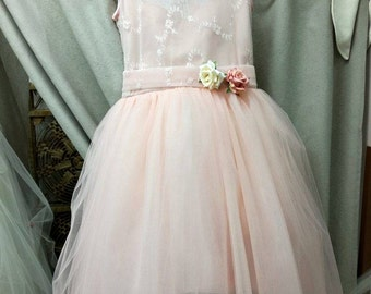 Peach handmade pink dress