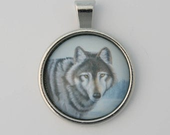 Wolf Necklace, Wolves Glass Pendant, Animal Wildlife Jewelry.