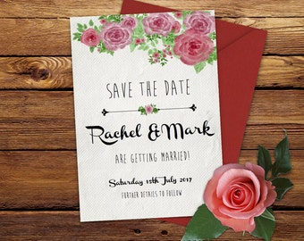 Floral wedding invitation printable save the date rustic