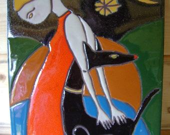 Table partitioned enamels 'Portrait of women' Mona