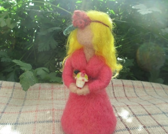 Needle Felted Birthday Girl/Cupcake Girl/Cupcake Doll/Blond Haired Doll/Pink Dress Doll/Organic Wool Doll