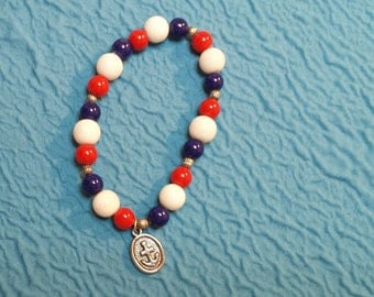 Red White and Blue Glass Bead Charm Bracelet