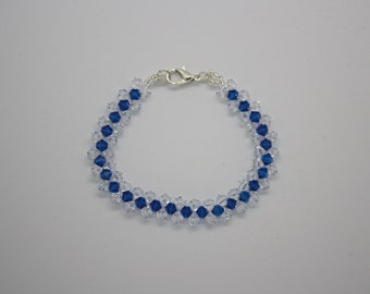 Blue and clear Swarovski crystal bracelet