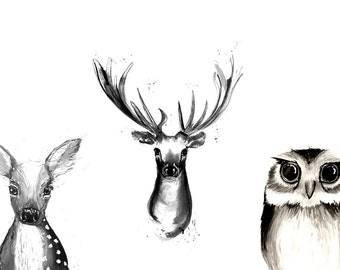 Art print, print, art, illustration, decor, print, animal, cute, watercolour, style forest wall art posters, home, wildlife, bambi, owl, deer
