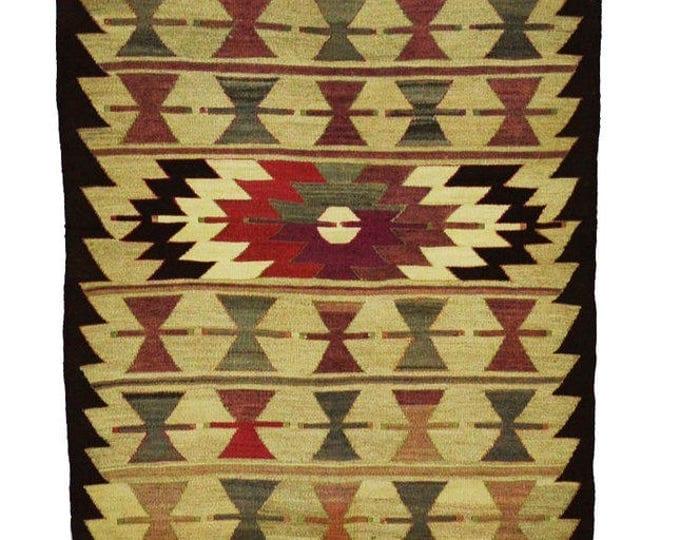 130 cm x 90 cm/ 4,26 x 2,95 ft / VINTAGE OUSHAK RUG Kilim Rug Oushak Rug Hand Woven Turkish Rug Vintage Oushak Mut Kilim Rug - Free Shipping