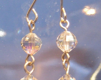 Upcycled Vintage Clear Crystal Glass Drop Earrings