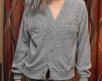 1980's Gray Lacoste Cardigan Sweater
