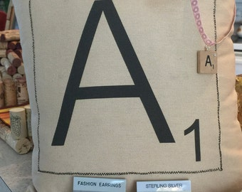 """Scrabble Pillow, Made to Order 14"""" by 14"""""""