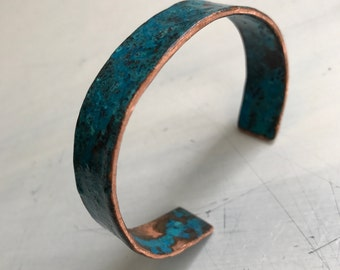 "Woman's Copper Bangle Cuff Handmade Patinated 1/2"", One Size Fits Most"