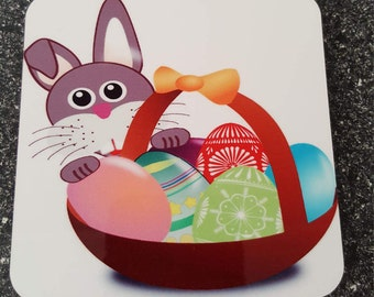Easter Bunny with Egg Basket Coaster