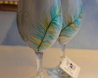 Whimsical Feather Wine Glass
