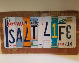 Salt Life License Plate art on old fence panels