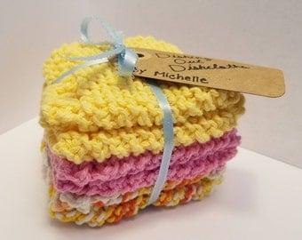 Hand Knit Cotton Dishcloths - Set of Three
